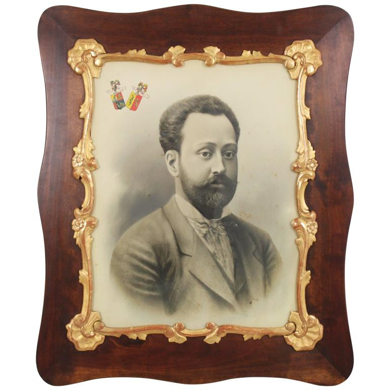 Photograph of a Gentleman Framed by a Louis XV Style Giltwood and Walnut Frame