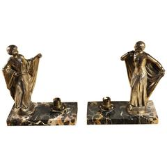 Pair of French Art Deco Figural Table Lamps on Marble Bases