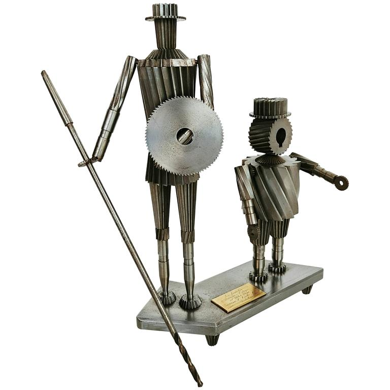 Don Quixote and Sancho Metal Sculpture Circa 1967  For Sale