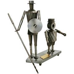 Don Quixote and Sancho Metal Sculpture Circa 1967