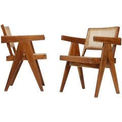 "Set of Two Armchairs called ""Office Cane Chairs"" of Pierre Jeanneret"