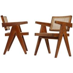 "Set of Two ""Office Cane Elegant Chairs"" from Pierre Jeanneret"