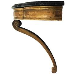 Victorian Wall-Mounted Gilt Console Table with Black Marble Top