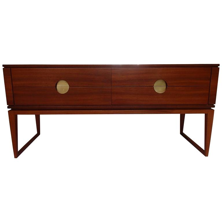 Mid Century Modern Low Board 4 Drawers Cherry Wood And