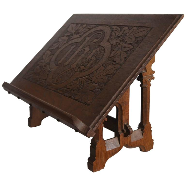Wooden Bible Stand ~ Antique dutch carved oak gothic revival bible stand