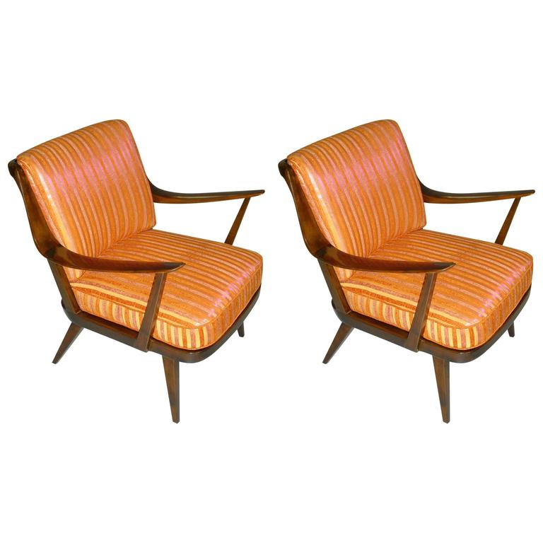 Pair of Knoll Antimott armchairs tinted birch yellow orange silk recovered