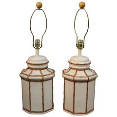 Stunning Matched Pair Ceramic Jar Lamps with Bamboo Lattice Motif