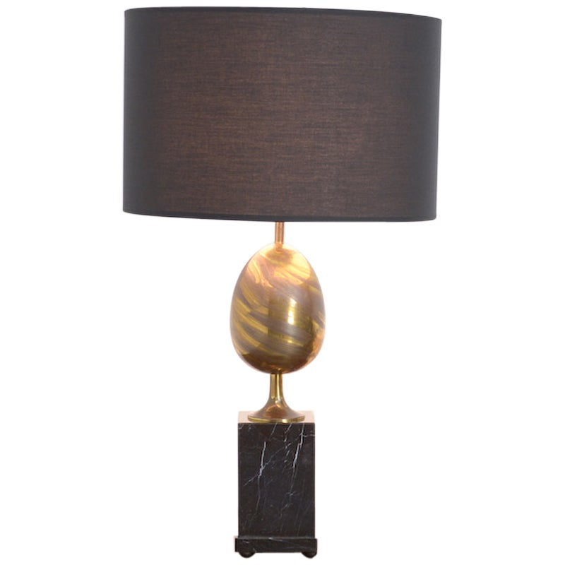Black Marble and Brass Table Lamp