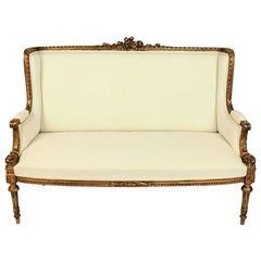19th Century Louis XVI Style Wingback Giltwood Settee/ Sofa