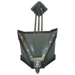 Art Deco geometric  bronze nickeled chandelier with satined glass