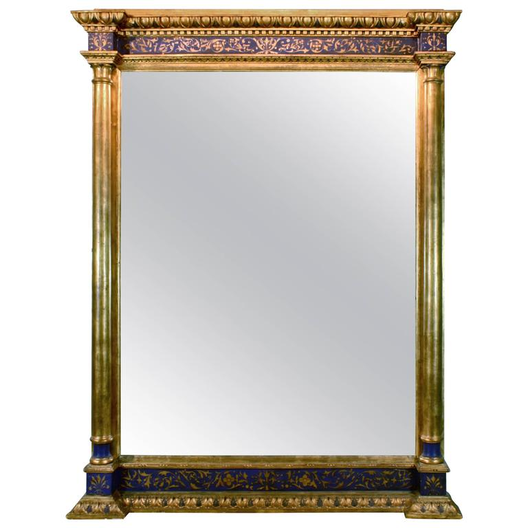 Impressive Renaissance Blue Painted and Parcel Gilt Mirror For Sale
