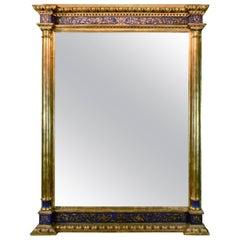 Impressive Renaissance Blue Painted and Parcel Gilt Mirror