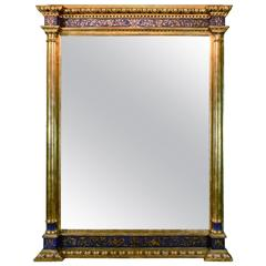 Impressive Renaissance Blue Painted and Parcel Gilt Mirror