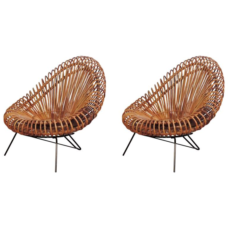 Splendid Pair of Rattan Armchairs Attributed to Franco Albini For Sale