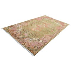 Antique Khotan Rug Tone on Tone Roses & Skeletal Branches with Camel Background