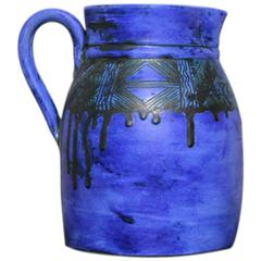 Royal Blue Ceramic Sgraffito Juice Pitcher by Jacques Blin, France, 1950s