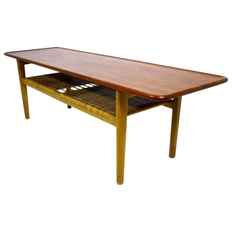 Coffee Table At10 Hans J Wegner For Andreas Tuck Teak And Oak At 1stdibs