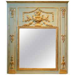 Louis XVI Period Painted and Parcel Gilt Trumeau Mirror