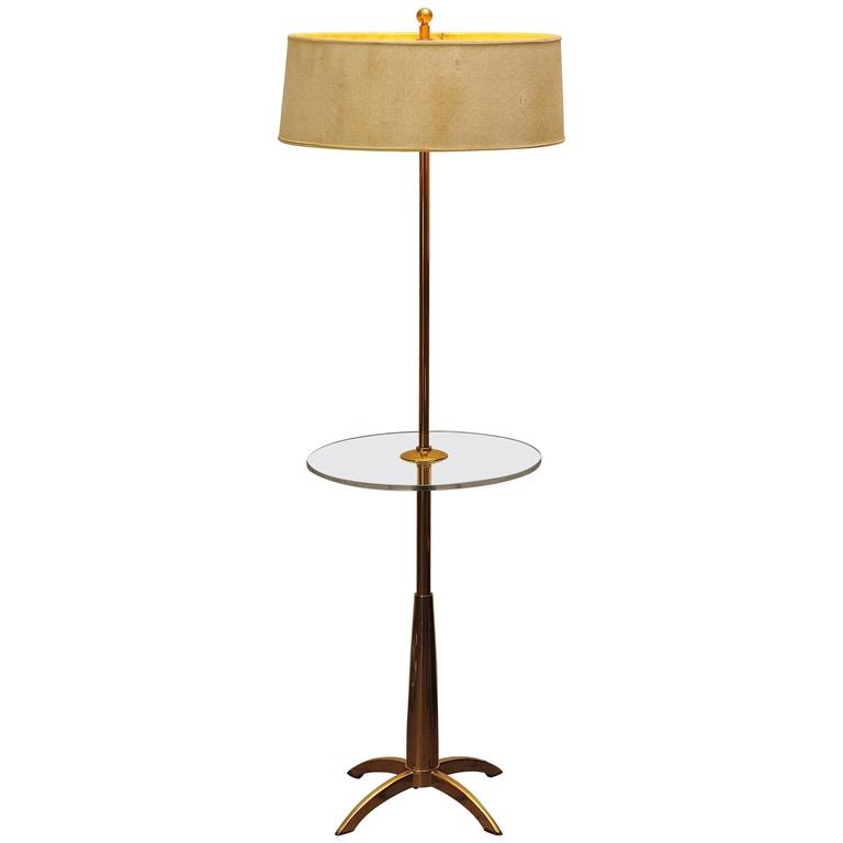 Brass And Acrylic Stiffel Mid Century Modern Floor Lamp For Sale