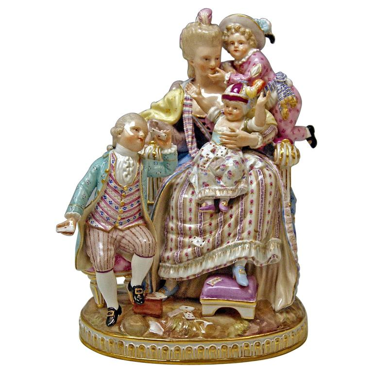 Meissen Stunning Figurine Group The Loving Mother by Michel V. Acier, circa 1870