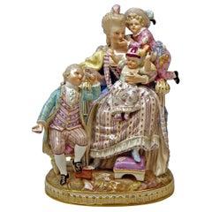 Meissen Stunning Figurine Group The Loving Mother by Michel V. Acier, circa 1870