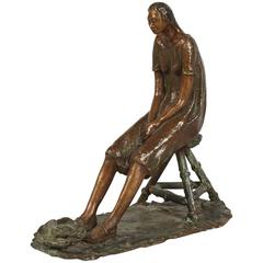 Bronze Sculpture of Woman on Stool, Fish at Her Feet