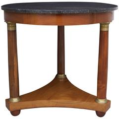 French 19th Century Empire Mahogany Gueridon with Marble Top