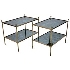 Pair of Maison Bagues Two-Tiered Glass Top Side Tables