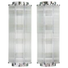 LASSCO Art Deco Wall Lights 'Chrome'