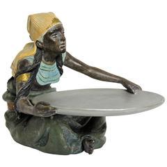"Majolica Figurine ""The Egyptian"" by Bernhard Bloch, Marked, circa 1900"