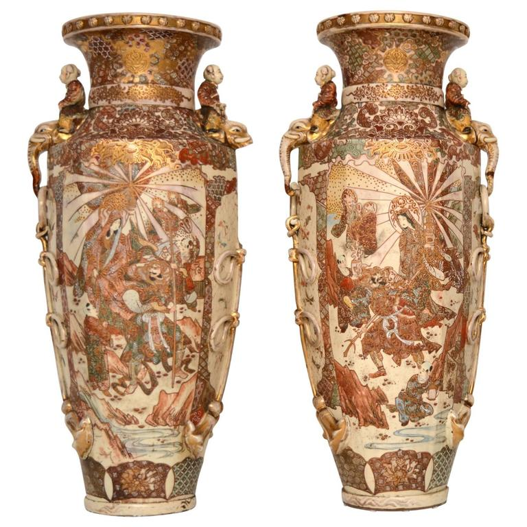 Very Large Pair Of Antique Satsuma Vases At 1stdibs