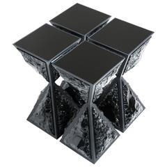 Black Bronze and Black Obsidian 'Eye of God' Side Table by Gloria Cortina