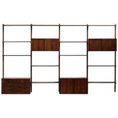 Large Danish 1960s Rosewood Wall Unit by Rud Thygesen for HG Møbler Shelf