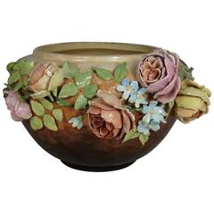 Large French Impressionist Majolica Barbotine Pastel Roses Jardiniere