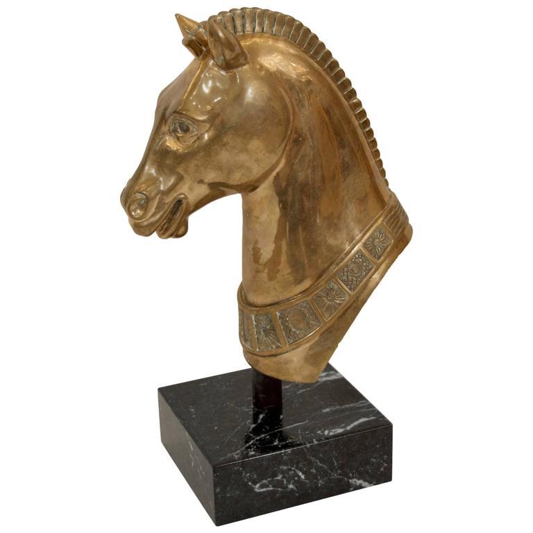 Brass Horse Head Sculpture on Marble Base