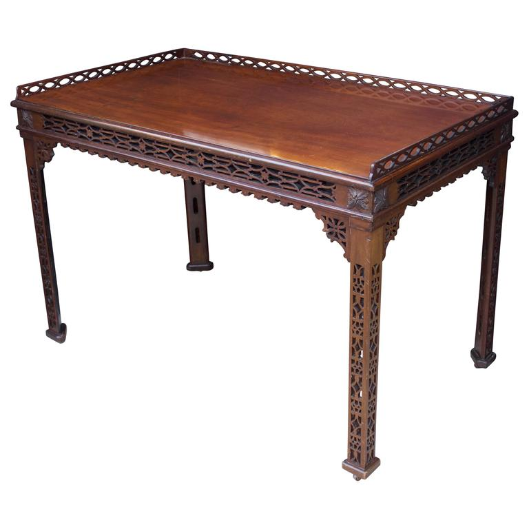 19th Century Chinese Chippendale St. Mahogany Table 1