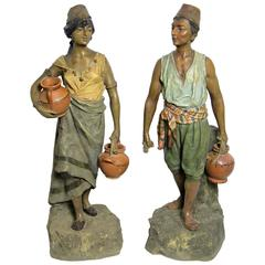 Impressive Majolica Figurines by Johann Maresch, Bohemia, circa 1895