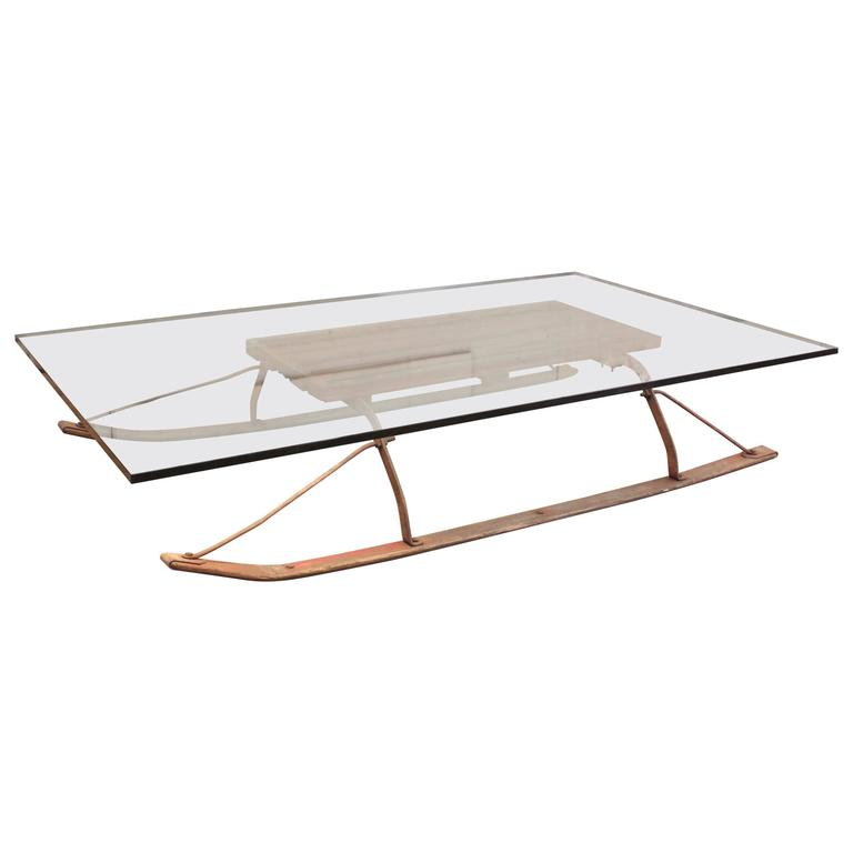 Coffee Table Vintage Industrial Wood And Glass Sled For Sale At 1stdibs