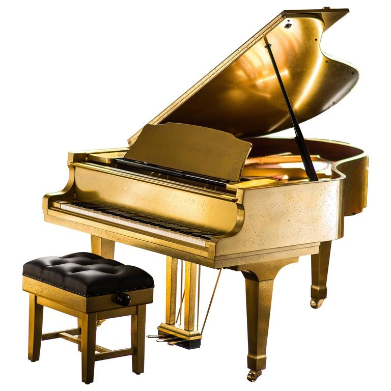 Bespoke Metal Coated Kawai Rx 3 Grand Piano And Leather Concert Stool For Sale At 1stdibs