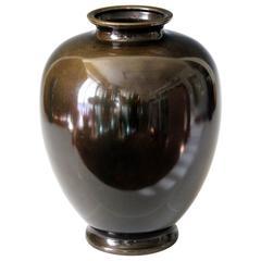 Japanese Dark Patinated Large Bronze Vase
