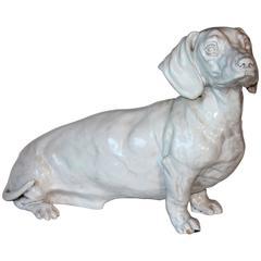 Dachshund Lifesize Vintage Italian Pottery Dog Figure Sculpture