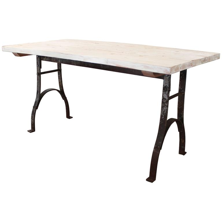 Vintage Reclaimed Table Distressed Plank Top Wood Steel Farm Dining Desk For