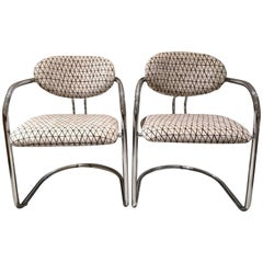 Pair of Tubular Steel Newly Upholstered Chairs Produced in Italy