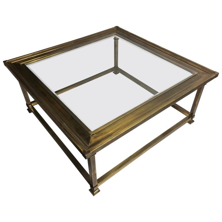 Stunningly Patinated Brass And Glass Picture Frame Coffee Table By Mastercraft At 1stdibs