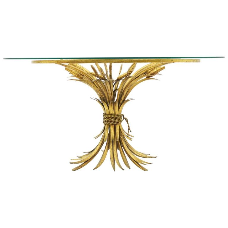 Gold Oval Wheat Table In Style Of Coco Chanel For Sale At 1stdibs