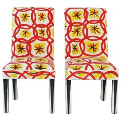 Pair of Artist Painted Dining Chairs