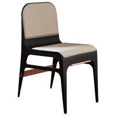 Bardot Chair in Black and Satin Copper with French Leather