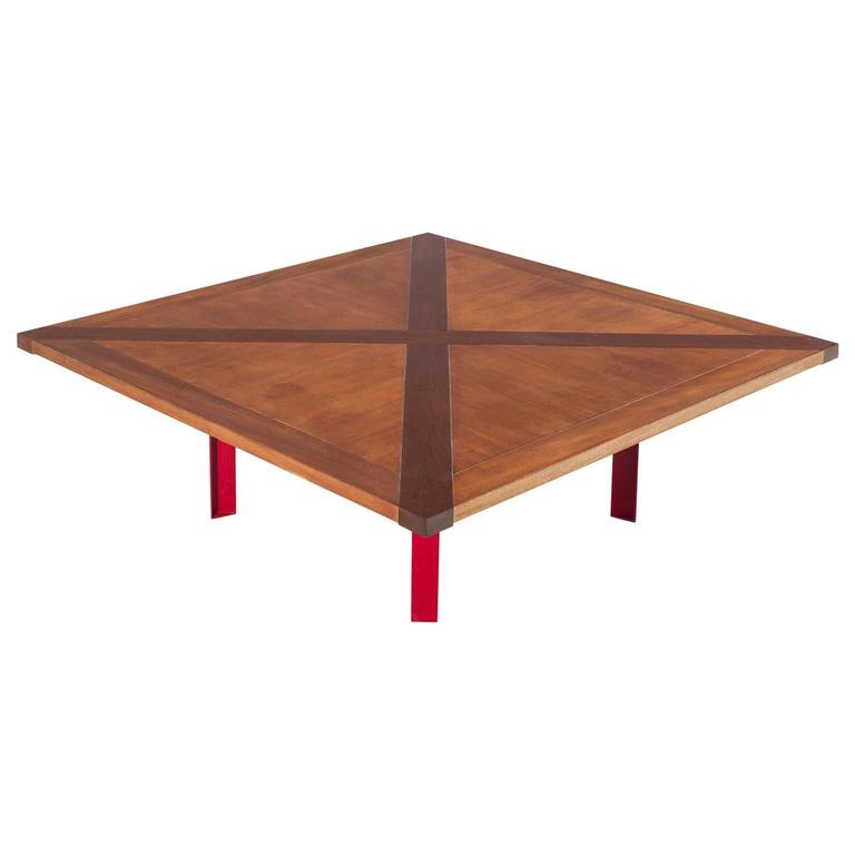 Large Danish Coffee Table In Mahogany And Red Lacquered Metal At 1stdibs