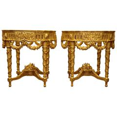 Pair of Louis XVI Style Giltwood Console Tables  by La Maison London