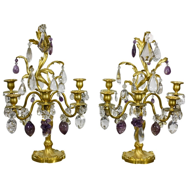 Pair of Louis XV Style Rock Crystal Girandoles For Sale